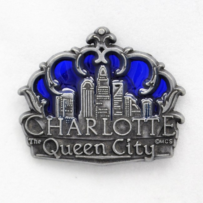 Pewter Stain Glass Magnet - Charlotte Skyline Crown