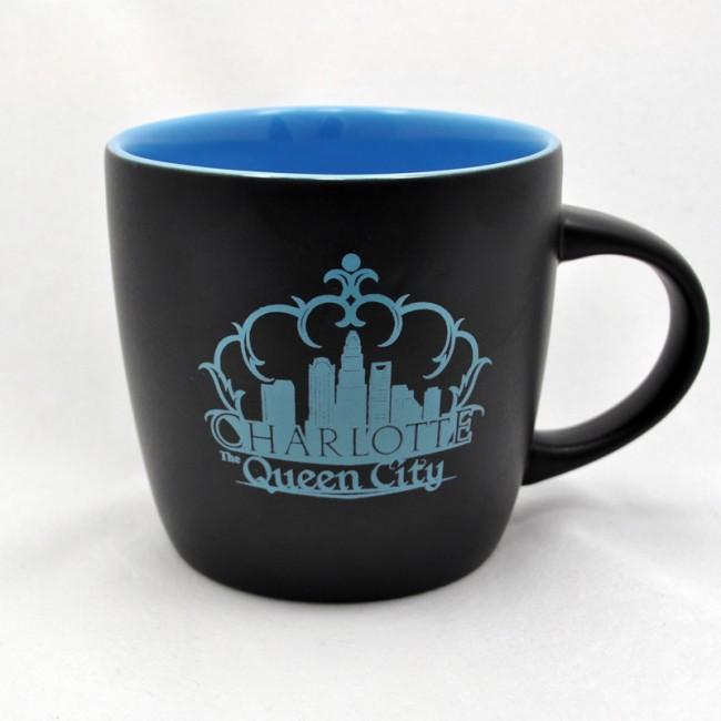 12 Oz. Ceramic Black Mug - Charlotte Crown Skyline