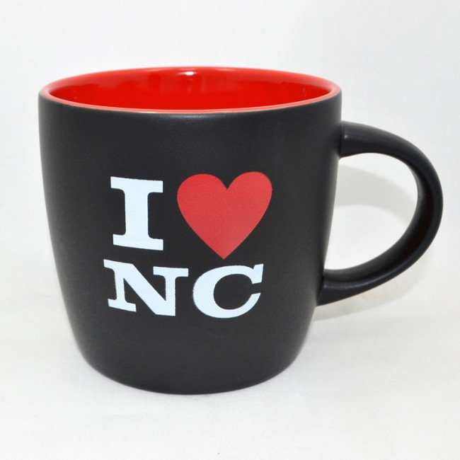 12 Oz. Ceramic Black Mug - I Love NC