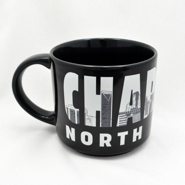 Jumbo 14 Oz. Ceramic Black Mug - Charlotte Letters Skyline