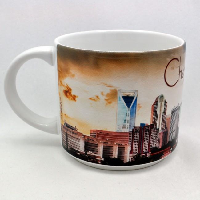 Jumbo 14 Oz. Ceramic Mug - Charlotte Skyline At Dusk