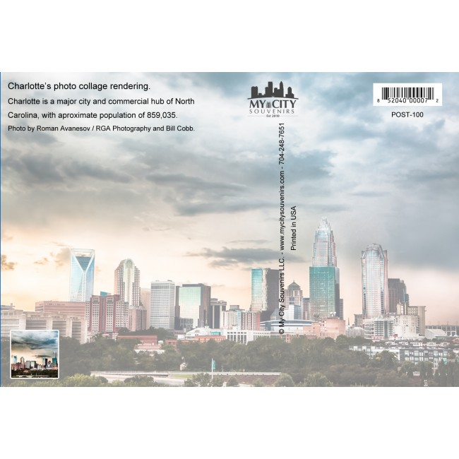Souvenir Postcard (Pack of 50) - Charlotte, North Carolina Scenic Collage