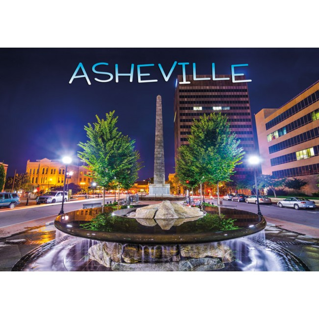Souvenir Postcard (Pack of 50) - Asheville Downtown Night View at Pack Square