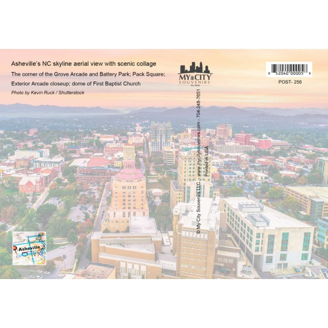 Souvenir Postcard (Pack of 50) - Asheville NC Aerial View with Scenic Collage