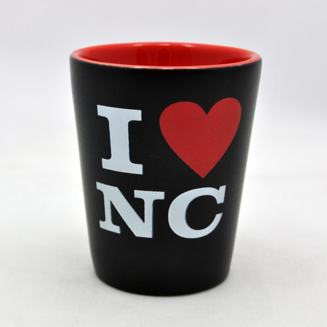 2 Oz. Ceramic Black Shot - I Love NC