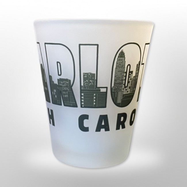 2 Oz. Frosted Shot Glass - Charlotte Letters Skyline