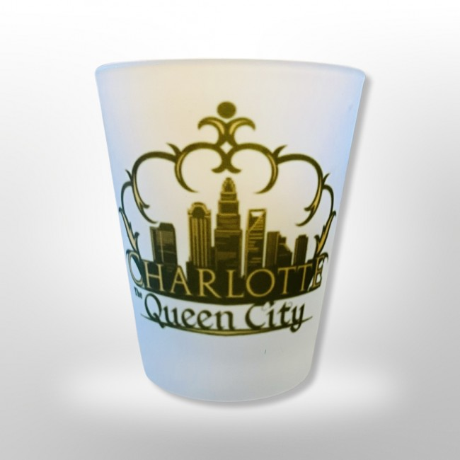 2 Oz. Frosted Shot Glass - Charlotte Crown Skyline
