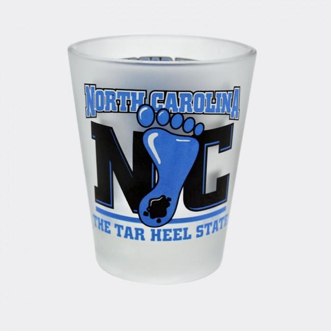 2 Oz. Frosted Shot Glass - North Carolina Tar Heel State