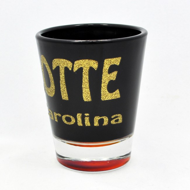 2 Oz. Black Shot Glass - Charlotte Glitter Letters