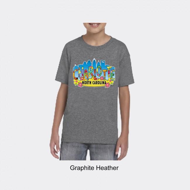 Gildan Youth Dryblend Tee Shirt - Charlotte Art Letters