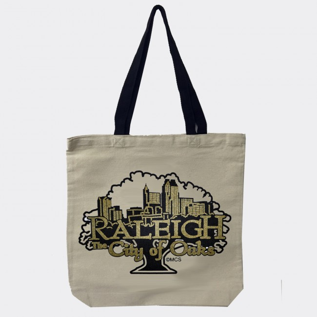 Canvas Tote Bag - Raleigh City of Oaks Tree Skyline