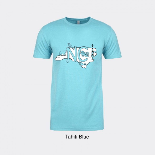 Next Level Blended Tee Shirt - North Carolina Icon Map